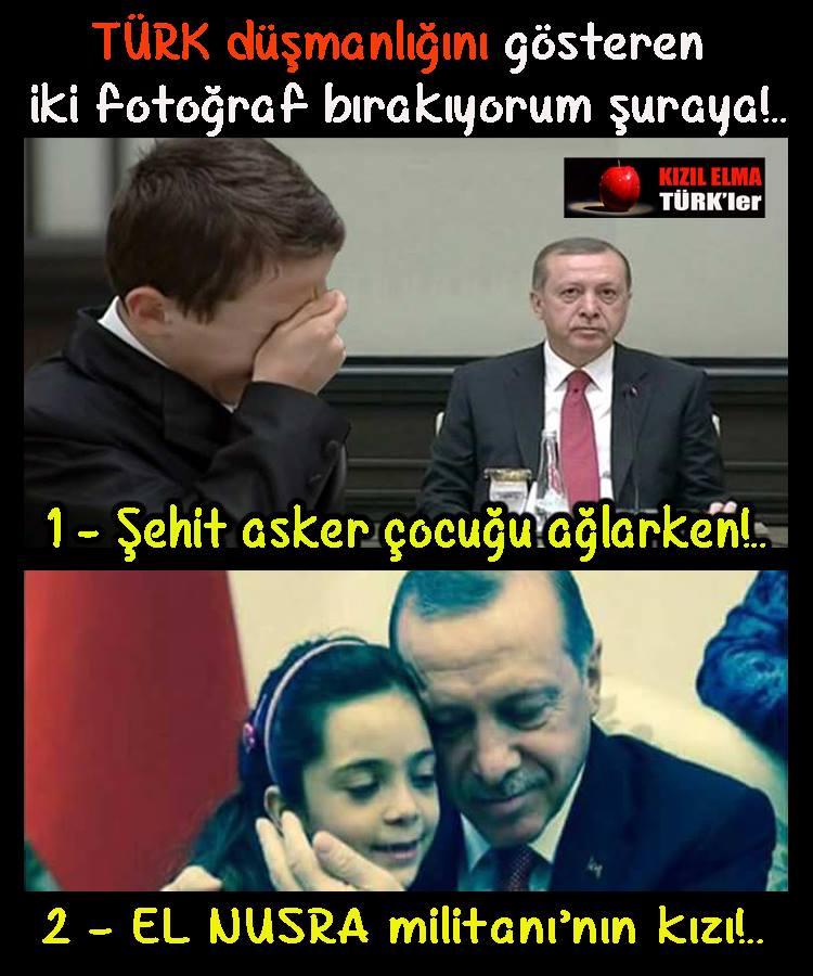 «Jeg plasserer to bilder her som viser fiendtligheten mot tyrkere. 1. Mens ungen til en soldatmartyr gråter. 2. En El Nusra militant sin jente.» Bildet følges av teksten: «Se nå skikkelig på disse to bildene!.. Vil du som tyrker overlate landet ditt denne personen..? Siden vi sier NEI til denne personen sitt sultanat blir vi beskyldt for å være terrorister!... Det mest oppklarende svar er i disse to bildene…FOR DE SOM FORSTÅR!» Şimdi bu fotograf karelerine iyi bakın!.. Bu şahsa bir Türk olarak ülkeni mi teslim edeceksin..? Bu şahsın saltanatına #HAYIR dediğimiz için terörist ilan ediliyoruz!.. En açıklamalı cevabı bu iki foto karesindedir!.. ANLAYANA!